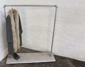Paris Galvanised Steel Pipe Freestanding Clothes Rail / Rack with White Washed Reclaimed Wooden Shelf Mounted on Locking Rubber Castors
