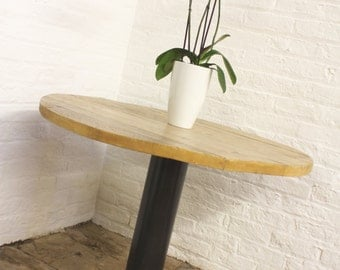 Savary Pedestal Reclaimed Scaffolding Timber Circular Bistro Table with Dark Steel Pipe and Heavy Pedestal Base by urbangrain.co.uk