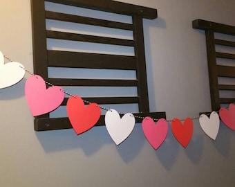 heart banner, Valentine's day decoraton, wedding banner, engagment decorations, heart decorations, heart graland , heart bunting, pink heart