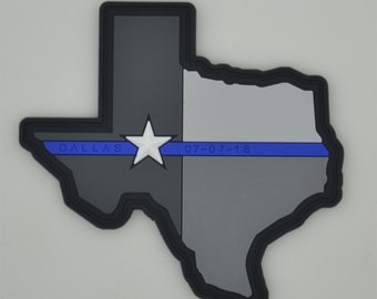 Texas Thin Blue Line - PVC Patch - Dallas Officers