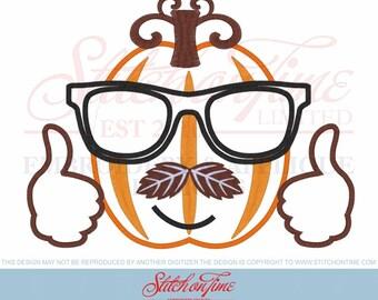 560 HALLOWEEN : Pumpkins Cool Dude 3 Hoop Sizes Inc. Applique Design