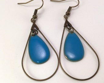 Earrings drop enamal - blue