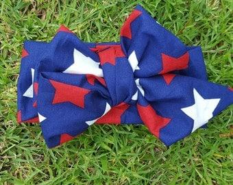 Red, white, blue stars American head wrap head band hair wrap. America.