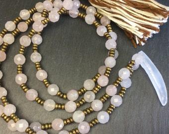 Rose Quartz 8mm gemstone tassel necklace with Ethiopian Brass beads with an Onyx pendant.  Energy Healing Jewerly.  Semi-precious Stones.