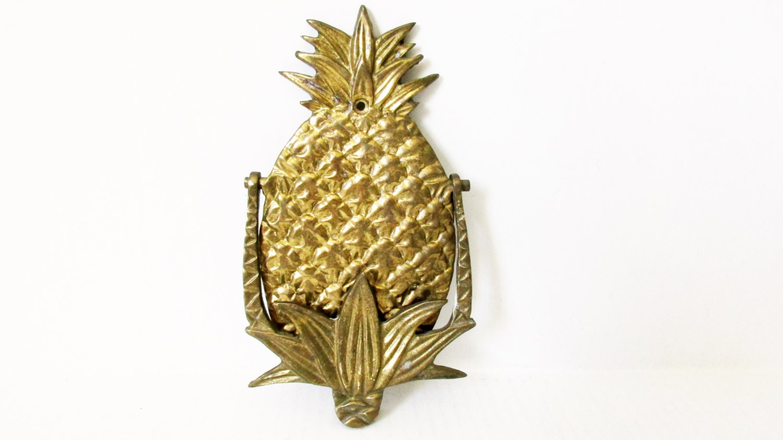 Brass pineapple door knocker front door welcome hospitality - Pineapple door knocker ...