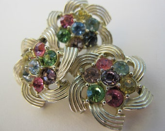 Sarah Coventry signed demi parure enamel and rhinestone brooch/pendant and earring set