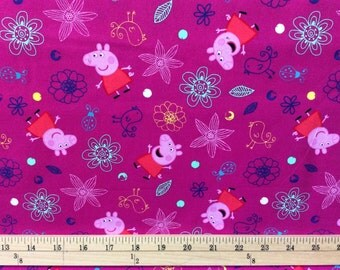 Peppa Pig Plays in Flowers fabric / 100 % Cotton/ Sold by the yard/ Yardage available in Continuous cut
