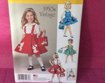 Simplicity 1075 Pattern / 1950's Vintage Child's Jumper, Skirt and Bag Pattern/ Childs size 3 to 8/ FREE U.S. Shipping /New