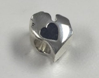 Michigan Mitt with Heart in Sterling Silver Bead Fits Pandora Style Charm Bracelets