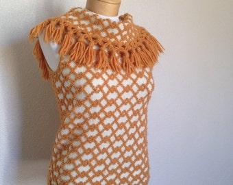 70's Marsina California, orange yarn and stretch sleeveless top