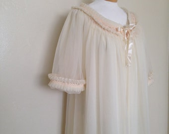 60's sheer cream, Tosca lingerie/night gown with robe