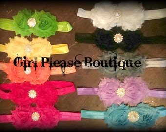 Rainbow shabby chic flower headband set