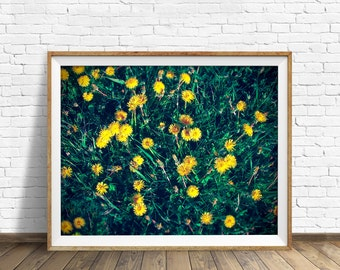 "dandelions, summer, botanical, flowers, instant download art, wall art, printable art, rustic, large art, art print, green -""Dandelion Days"""