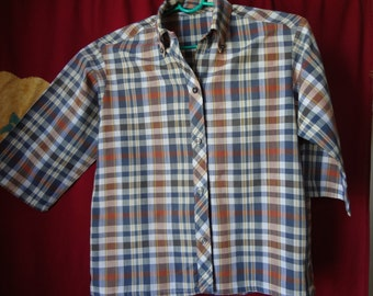 Vintage Preppy 1940's - 1950's Plaid Cotton Blouse