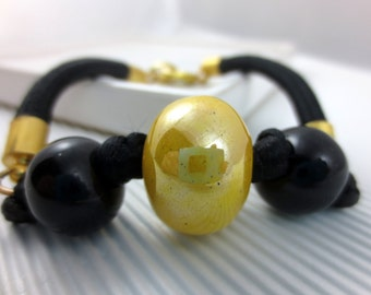 CERAMIC bracelet black and yellow