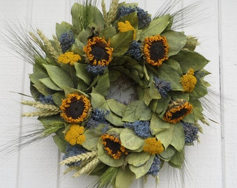 Fall Wreath, Fall Dried Floral Wreath, Fall Dried Flower Wreath, Cottage Dried Flower Wreath, Dried Sunflower Wreath, Natural Dried Flowers