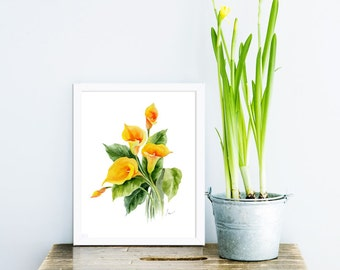 calla lily print, yellow calla lily, yellow flowers, May birthday flowers, watercolor calla lily, watercolor yellow flower print, floral art