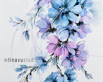 abstract flower painting, abstract flowers, abstract art, abstract painting, original watercolor art, original floral painting, blue flowers