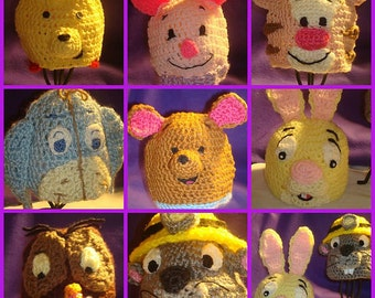 Winnie The Pooh and Disney inspired character crocheted beanies