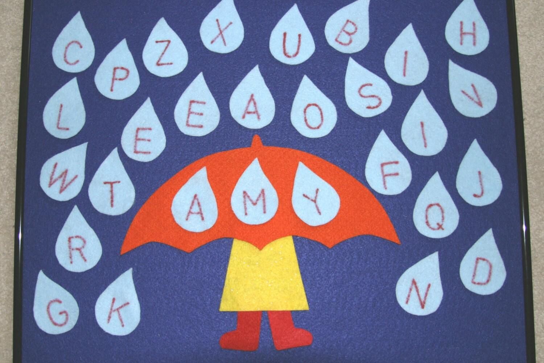 Raindrop letters children story flannel board felt set for Flannel board letters