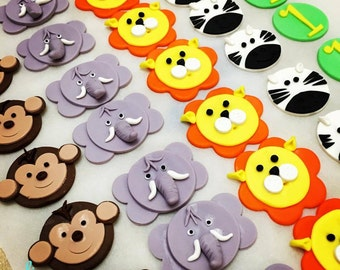 12 Edible Safari Animals Cupcake toppers