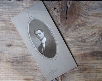 """Antique Photograph young Man Black and White """"Oliver"""" Worcester MA"""