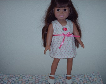 Pink roses dress w/ ribbon and rose embellishment for American Girl doll.