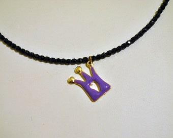 Handmade Black czech crystal beaded necklace