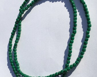 Necklace; Green Beads Long Necklace