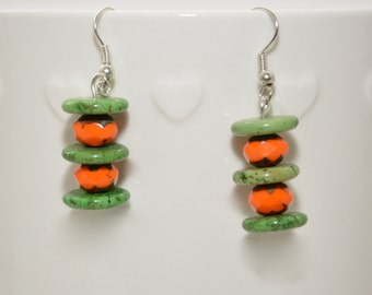 Orange and Lime drop earrings (Olivia)