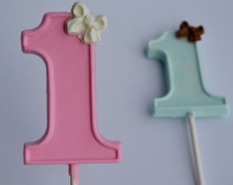 Chocolate Lollipop Number ONE (12), First Birthday Lollipops, Chocolate Birthday Party Favors, Baby First Birthday, Chocolate Candy