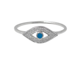 Evil Eye Ring with Cubic Zirconia, Rhodium plated Sterling Silver, Silver Evil Eye Ring, Hypoallergenic, Anti Tarnish, Evil Eye Protection