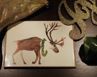 Christmas Card/Watercolor Card/ Caribou Watercolor