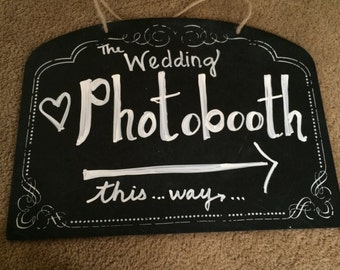Chalk Board Wedding Photo Booth Sign