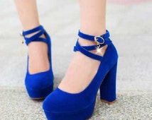 Womens platform wedding shoes, High Heel bridal shoes, Suede Bridal pumps, Criss cross ankle strap chunky heels