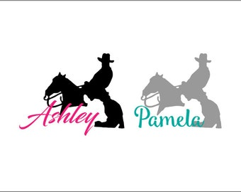 cutting horse vinyl car decal, cow horse yeti decal, cowgirl decal, country girl decal, cowboy, equine, equestrian