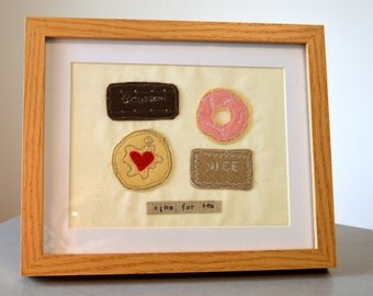 british biscuits, framed freehand machine embroidery