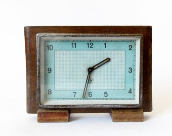 Vintage 1940s Alarm clock CHRONOTECHNA Made in Czechoslovakia Desk Table Watch