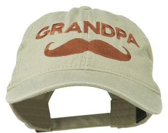 Grandpa Mustache Embroidered Washed Pigment Dyed Cap