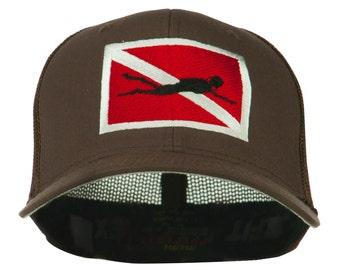 Scuba Diver Down Flag Embroidered Cap