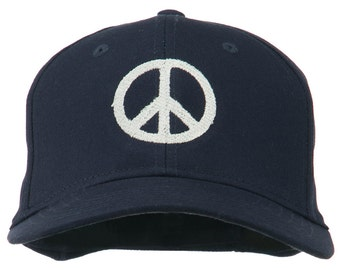 Peace Symbol Embroidered Cotton Twill Cap