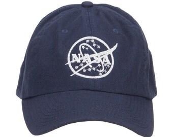 White NASA Logo Embroidered Low Cap