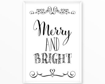 Merry and Bright Print, xmas poster, printable art, digital, Typography, Vintage, Grunge, Inspirational Home Decor, Screenprint, gift