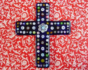 Cobalt Blue Fused Glass Cross with Millefiori A (Wall Art)
