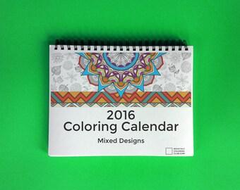 2016 Coloring Calendar : Mixed Designs