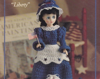 Holiday Dolls Collection 2, Leisure Arts Doll Clothes Crochet Pattern Leaflet 856 Independence Thanksgiving Christmas Dress