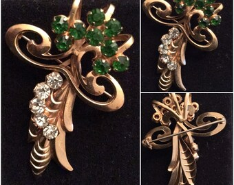 Vintage Brooch with Green and Rhinestones