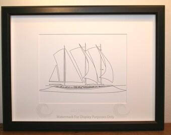 Sailboat Sketch, Picture, Framed Picture, Digital Art