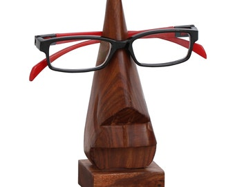 "Eyeglasses Holder Sale- 6"" Witty - Wooden Nose Eyeglass Holder/ Spectacle Holder/ Glasses Display Stand/ Spectacle case - Desktop Accessory."