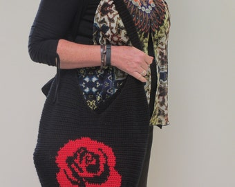 Red Rose Hippy Tote